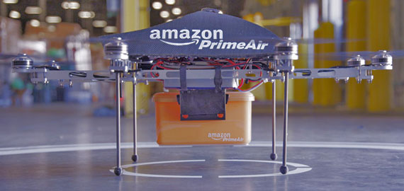 Amazon starts experimenting with the drones.