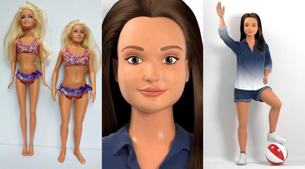 The Lammily Doll features natural makeup with a broader and shorter body type compared to the original Barbie doll.