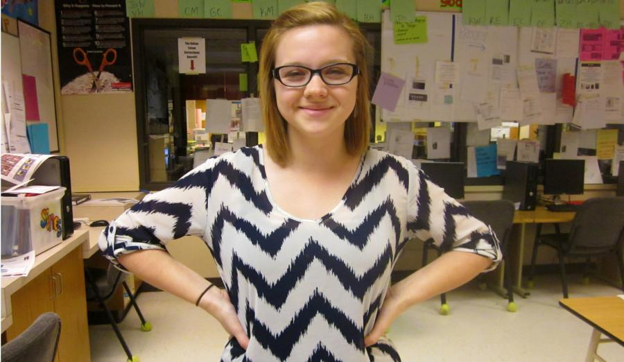 Along+with+becoming+a+teacher%2C+everybody+has+to+look+the+part.+Senior+Kelsee+Garinger+shows+off+her+teaching+attire.+