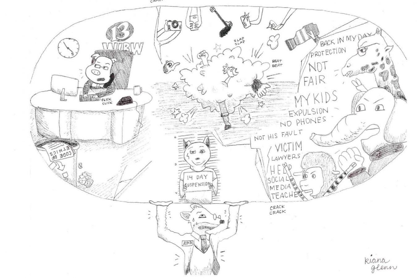 Staff member Kiana Glenn created this political cartoon in response with the recent controversy surrounding the fighting. It shows the struggles the administration deals with in managing the social media, reasonable punishments for the students caught fighting or filming, and the angry backlash of parents and students. Facebook and other social media platforms have played a big role in the situation.